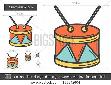 Snare drum vector line icon isolated on white background. Snare drum line icon for infographic, website or app. Scalable icon designed on a grid system.