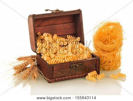 A treasure trove of and pasta isolated on a white background.