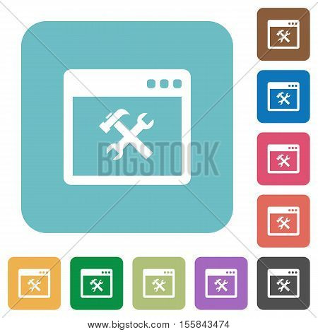 Application tools white flat icons on color rounded square backgrounds