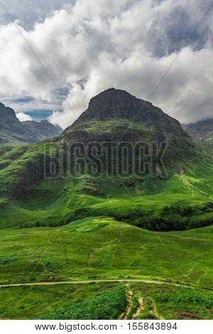 Green highlands in summer, Glencoe in Scotland
