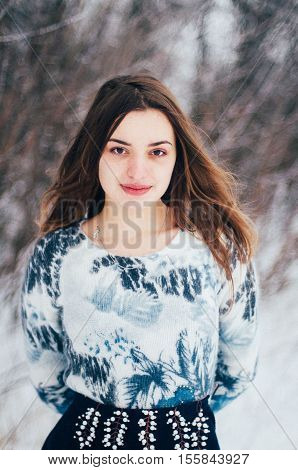 Female Portrait Outdoors Serious Expression. Young Woman Outside