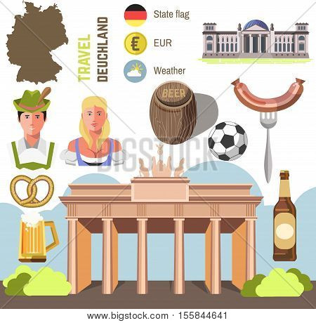 Travel Concept Germany Landmark Flat Icons Design. Set of country Germany culture and traditional symbols. Vector Illustration