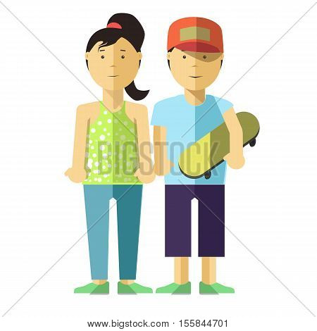 Happy girl and boy with skate. Young people in casual clothes. Teen brother and sister boyfriend and girlfriend. Vector illustration isolated on white backround. Flat style. Character for design.