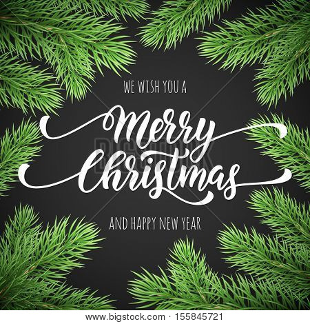 Merry Christmas, Happy New Year greeting card, poster template of pine and fir christmas tree branches border frame. Best wishes congratulation black night background with text calligraphy lettering