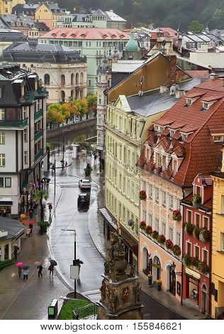 Rainy day in Karlovy Vary (Karlsbad). View from above.