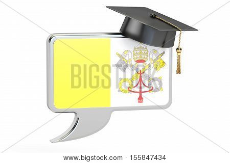 Speech bubble with Vatican flag learning concept. 3D rendering