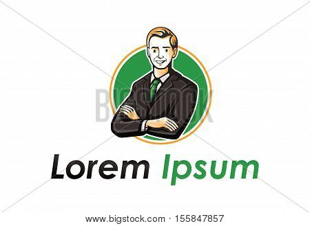 Nice man in suit vector logo design