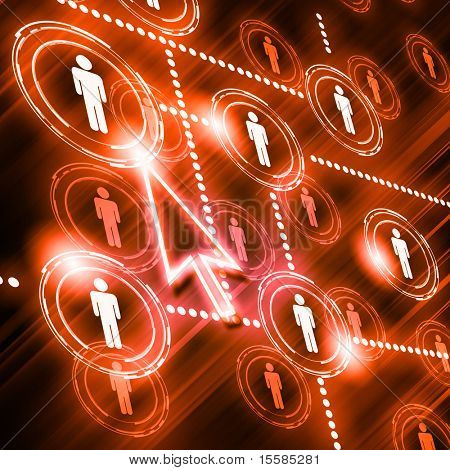 human models connected together in a social network pattern