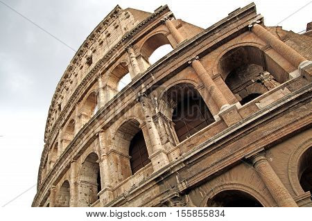 Famous Colosseum or Coliseum in Rome(Flavian Amphitheatre) Italy