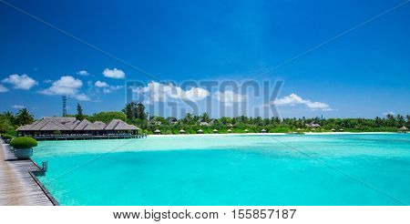 sea in Maldives. tropical beach in Maldives with  blue lagoon