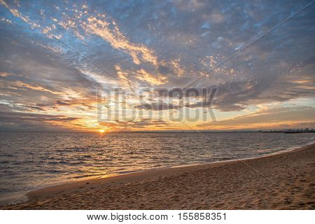 beautiful sunset sky and sea summer landscape at Brighton Beach in Melbourne Australia - use for background in travel holiday or natural environment concepts