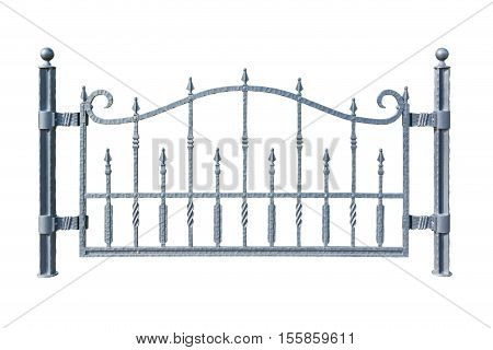 Iron Picket Country Style Fence Isolated On White Background.