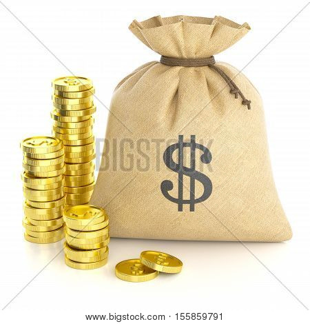 Stack coins and rag bag with money isolated on white background 3d poster