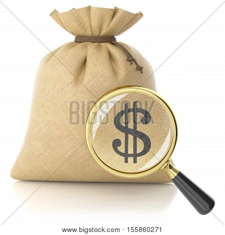 Loupe Search Dollar Sign On Rag Bag With Money
