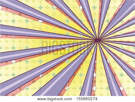 Abstract radial sun burst background. Retro style colorful light dissipated behind. Vector illustration. EPS 10