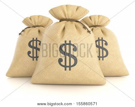 Group Of Rag Bags With Dollars