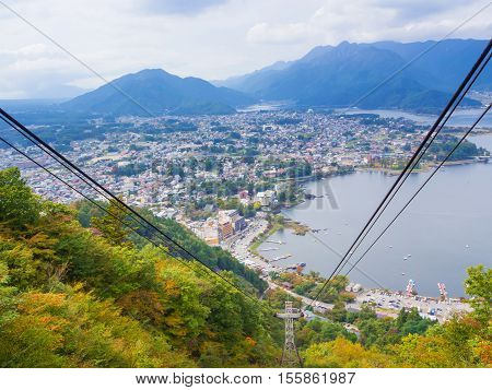 City view point from Kachi Kachi ropeway at Kawaguchiko lake in Japan
