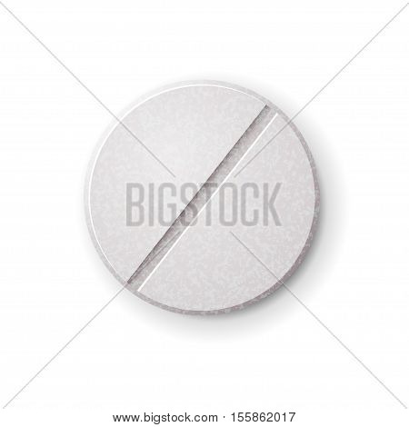 Realistic round tablet with filler isolated on white background
