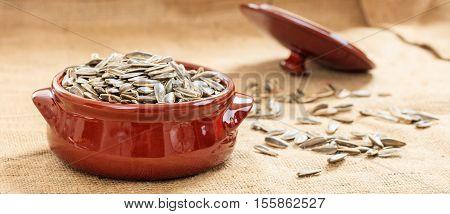 Sunflower Seeds In A Ceramic Pot