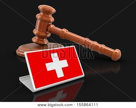 3D Illustration. 3d wooden mallet and Swiss flag. Image with clipping path