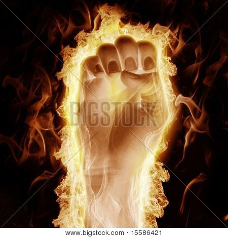 human hand open arms fire on a black background