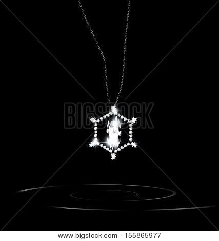 black background and the white jewelry chains with pendant