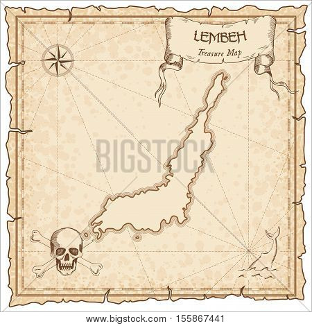 Lembeh Old Pirate Map. Sepia Engraved Parchment Template Of Treasure Island. Stylized Manuscript On