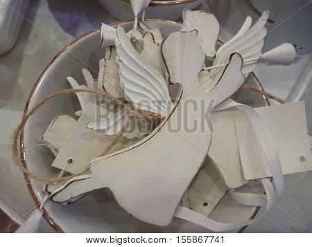 Christmas Decorative Angel Made Of White Wood