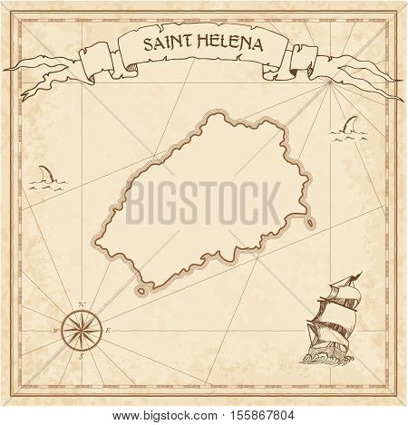 Saint Helena Old Treasure Map. Sepia Engraved Template Of Pirate Island Parchment. Stylized Manuscri
