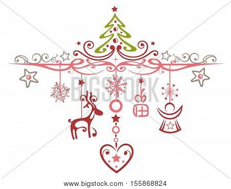 Merry Christmas decoration with reindeer, angels, gifts and christmas tree