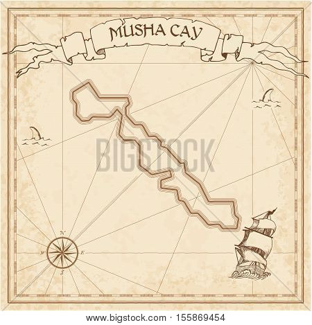 Musha Cay Old Treasure Map. Sepia Engraved Template Of Pirate Island Parchment. Stylized Manuscript