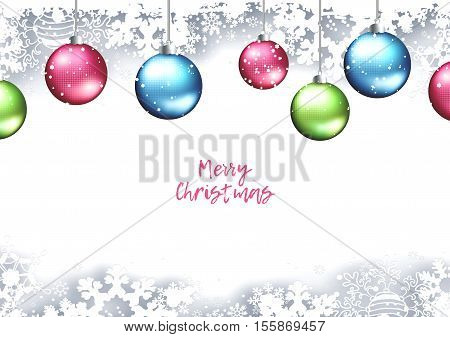 Christmas Holiday Winter Background With Shadows Balls Snowflakes And Text