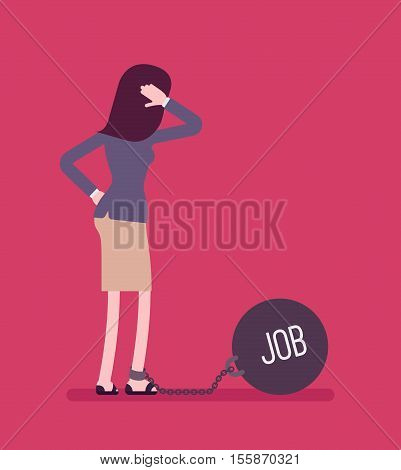 Businesswoman chained with a giant metall weight, written Job on a ball, thinking the problem over, scratching her head. Rear view. Cartoon vector flat-style concept illustration