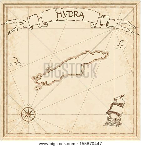 Hydra Old Treasure Map. Sepia Engraved Template Of Pirate Island Parchment. Stylized Manuscript On V