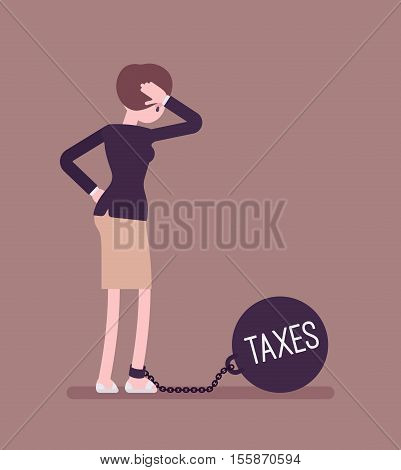 Businesswoman chained with a giant metall weight, written Taxes on a ball, thinking the problem over, scratching her head. Rear view. Cartoon vector flat-style concept illustration