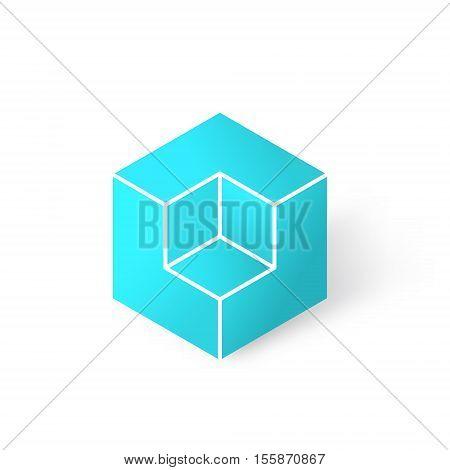 Isometric cubic shape 3d vector illustration of cube logo isolated on white background eps 10