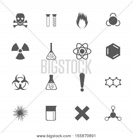 Chemical icons set 16 chemical scientific signs 2d vector illustration eps 8