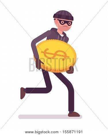 Thief, wearing a black mask, gloves and a black knit hat is runnig away with stolen golden coin in his hands. Cartoon vector flat-style concept illustration