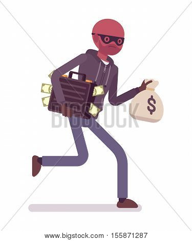 Thief, wearing a black mask, gloves is runnig away with stolen case full of money and dollar sack in his hands. Cartoon vector flat-style concept illustration