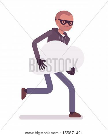 Thief, wearing a black mask, gloves is runnig away with stolen white cloud, symbol of dream in his hands. Cartoon vector flat-style concept illustration