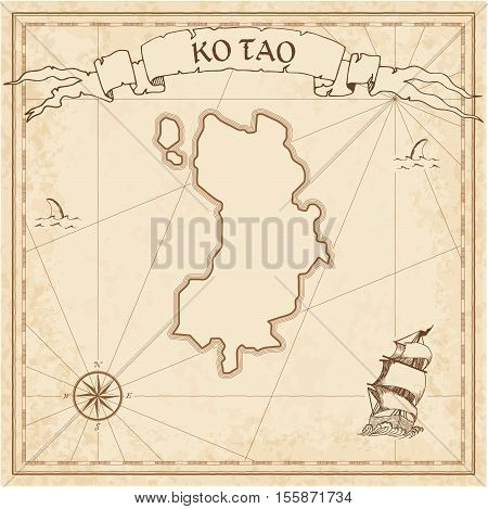 Ko Tao Old Treasure Map. Sepia Engraved Template Of Pirate Island Parchment. Stylized Manuscript On