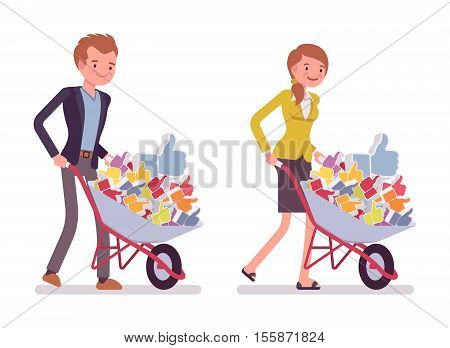 Set of smiling young businessman and businesswoman pushing a wheelbarrow full of likes. Cartoon vector flat-style concept illustration