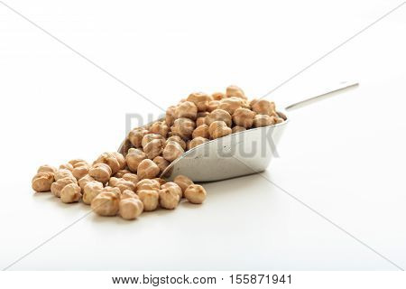 Raw Chick Peas In A Metallic Scoop
