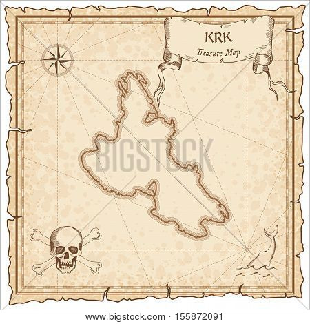Krk Old Pirate Map. Sepia Engraved Parchment Template Of Treasure Island. Stylized Manuscript On Vin