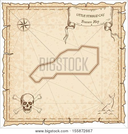 Little Stirrup Cay Old Pirate Map. Sepia Engraved Parchment Template Of Treasure Island. Stylized Ma