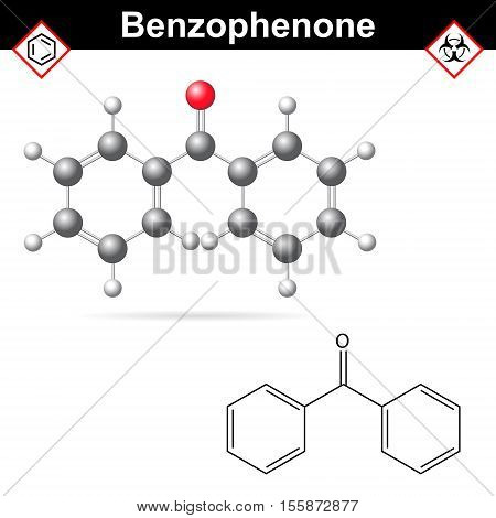 Benzophenone organic chemical 2d and 3d illustration of molecular structure isolated on white background eps 10
