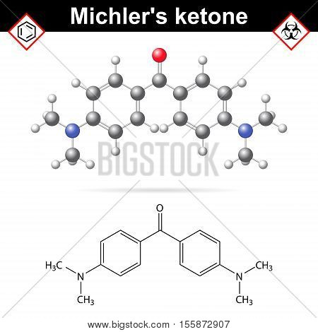 Michler's ketone organic chemical compound 2d and 3d vector illustration of molecular structure isolated on white background eps 10