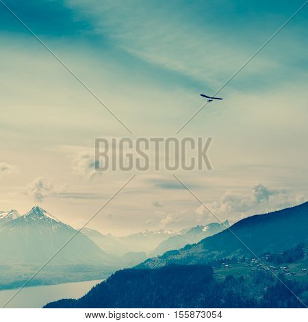 Grandiose panorama on top of Bernese Oberland Interlaken and mountain range. Switzerland