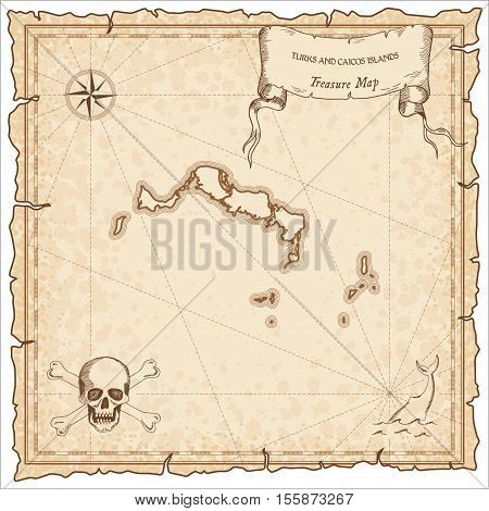 Turks And Caicos Islands Old Pirate Map. Sepia Engraved Parchment Template Of Treasure Island. Styli