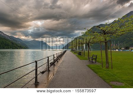 Park at the lake after the rain. On the sky heavy thunderclouds
